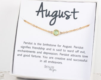August Birthstone Swarovski Necklace, Swarovski Gold Necklace, August Birthstone Gold Necklace, Peridot Gold Necklace, Birthstone Jewelry
