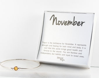 November Birthstone Swarovski Topaz Sterling Silver Bangle Bracelet, Sterling Silver Bracelet, Topaz Bangle Bracelet #763