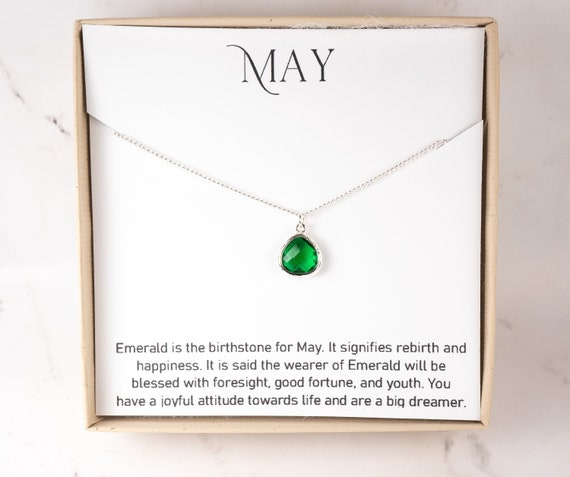 MAY EMERALD GREEN Sterling Silver Birthstone Necklace and Glass Pendant