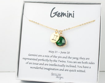Gemini Zodiac Gold Necklace, Gemini May Necklace, May Birthday Jewelry, Zodiac Necklace, Astrology Gold Necklace