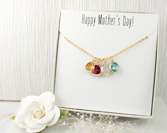 Birthstone Gold Necklace, Mothers Day Necklace, Gold Necklace, Mothers Day Gift, Gifts For Mom, Gifts Under 20