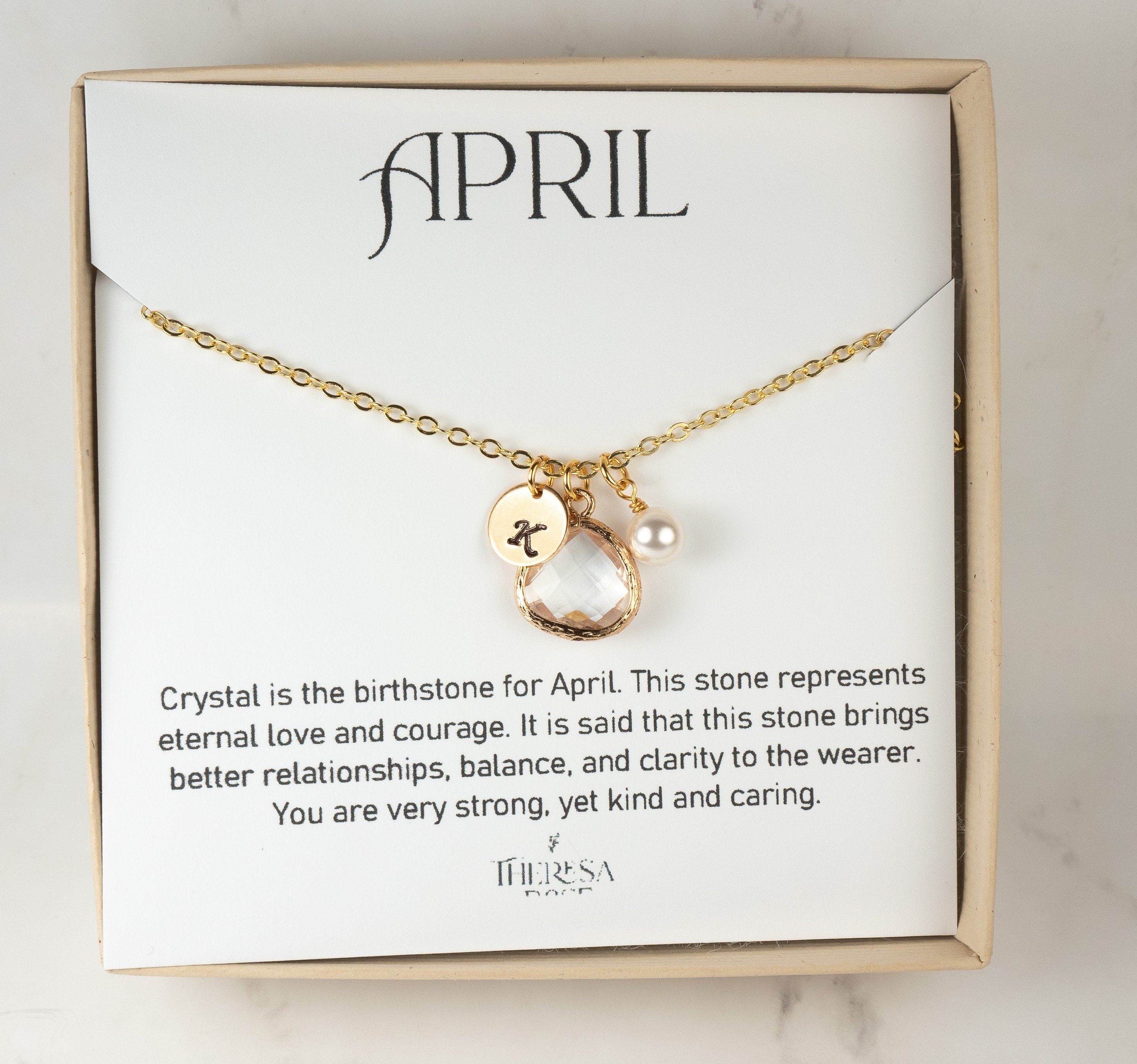 Personalized April Birthstone Necklace with Round Disc Initial Charm Custom April Birthday Gifts for Her Rose Gold Clear Crystal Jewelry