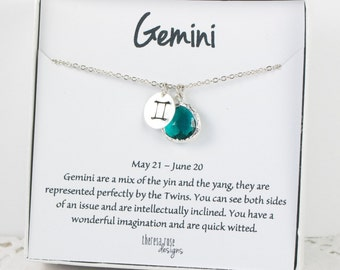 Gemini Zodiac Silver Necklace, Gemini May Birthday Necklace, May Birthday Jewelry, Zodiac Necklace, Astrology Silver Necklace