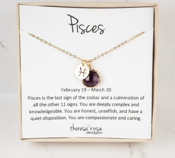 """20/"""" SILVER PLATED CHAIN PISCES AMETHYST ZODIAC PENDANT ON 16/"""" 18/"""""""