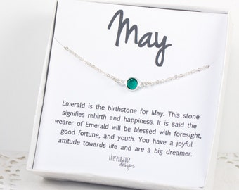 May Birthstone Swarovski Birthstone Necklace, May Emerald Birthstone Silver Necklace, Emerald Silver Necklace, Birthstone Jewelry