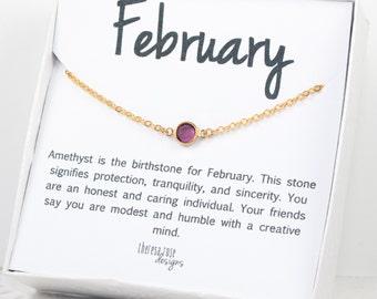February Birthstone Swarovski Necklace, Swarovski Gold Necklace, February Birthstone Necklace, Amethyst Gold Necklace, Birthstone Jewelry