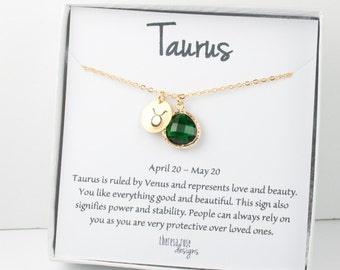 Taurus Zodiac Gold Necklace, Taurus May Necklace, May Birthday Jewelry, Zodiac Necklace, Astrology Gold Necklace