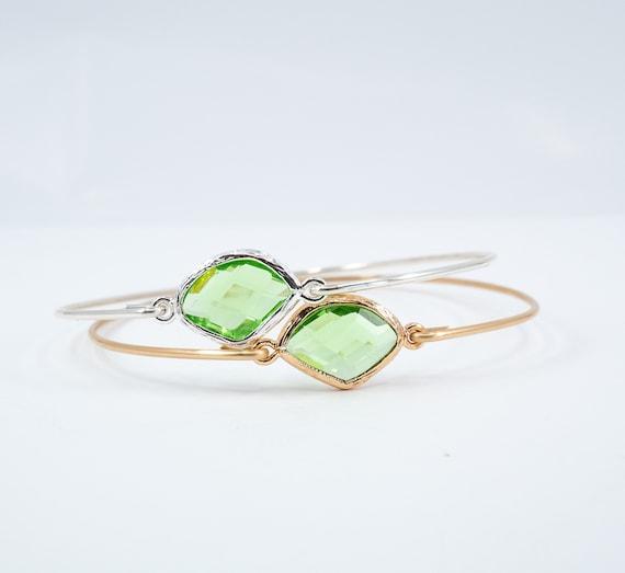 Peridot Bangle Bracelet Silver Wire Wrapped Natural Stone Bangle August Birthstone Jewelry