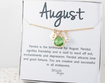 Personalized August Birthstone Peridot Gold Necklace, August Birthday Jewelry, Personalized Gold Necklace, Bridesmaid Jewelry #877