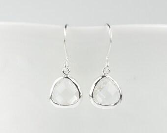 Crystal Silver Earrings, Tiny April Birthstone Silver Earrings, April Birthstone Jewelry, Silver Earrings, Bridal Earrings