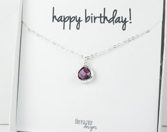 Tiny February Birthstone Silver Necklace, Amethyst Necklace, Silver Necklace, February Birthday Gift, Bridesmaid Jewelry, Gifts Under 20