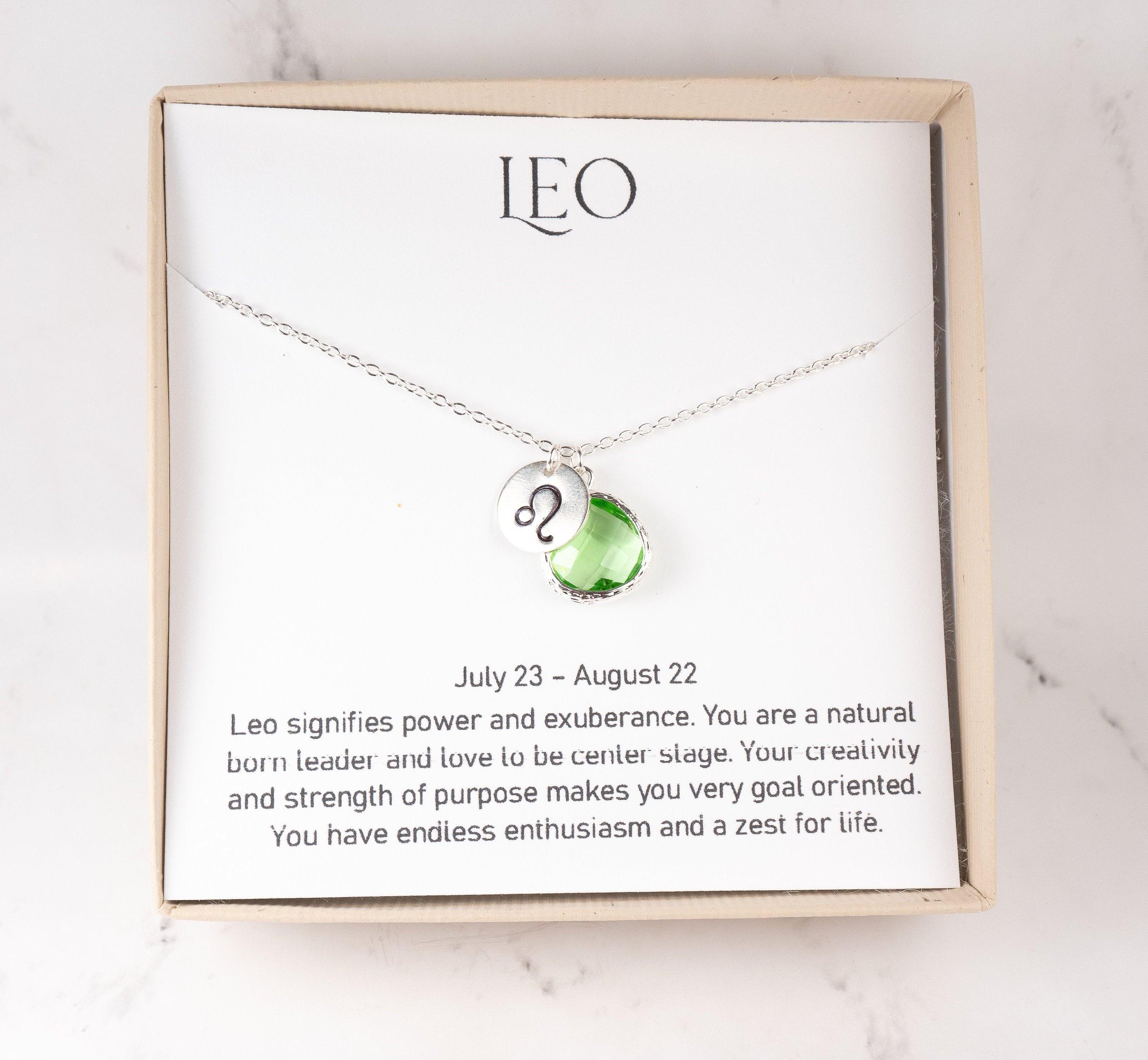 minimalist simple necklace custom personalized gift for women girl layered zodiac Leo necklace August birthday gift July