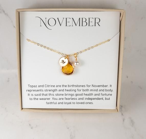 November birthstone necklace. Citrine birthstone pendant