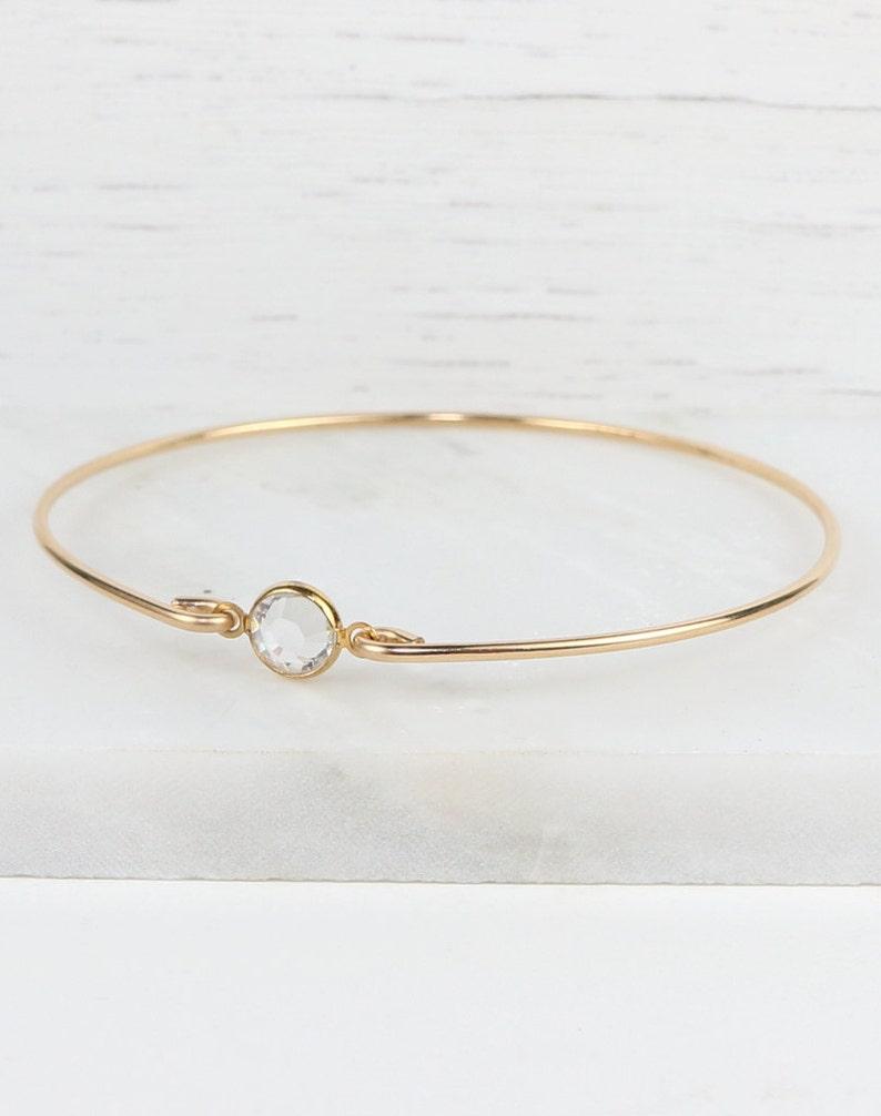 02af8b762dfcb April Birthstone Swarovski Clear Gold Filled Bangle Bracelet, Gold  Bracelet, Clear Bangle Bracelet, April Birthstone Bracelet [#773]