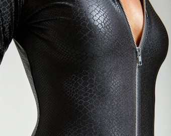 Black Leatherette High Collared Snake Perfect Black Catsuit