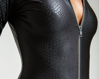 Black Snake Leatherette Perfect Black Catsuit with Hood