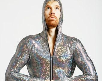 Unisex Silver Holographic Bodysuit JoyCatalyst