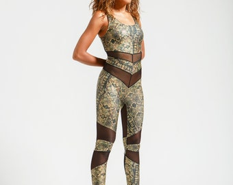 Gold Snake Print and Black Mesh Portal Suit for the Swamp Witch in You