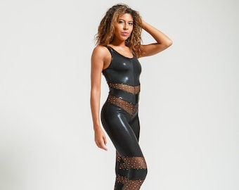 Sparkle Mesh and Stingray Leatherette Black Portal Suit for the Witchy Star Being in You