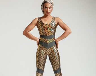Gold Mermaid Scale Portal Suit for the Modern Superhero