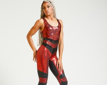 Red Mermaid Scale Portal Suit for the Modern Superhero