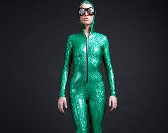 SALE Kelly Green On Green Holographic Bodysuit for Great Luck