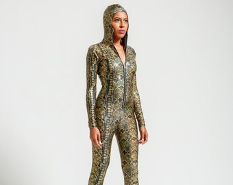Witch's Gold and Black Metallic Snake Anaconda Catsuit with Hood