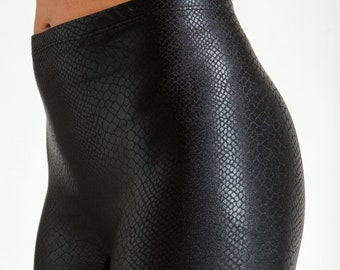 Snake Gloss-Embossed Black Liquid Leatherette Super High Waist Liquid Leggings