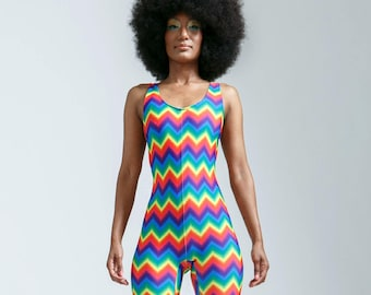 One of a Kind Rainbow Zigzag Portal Suit