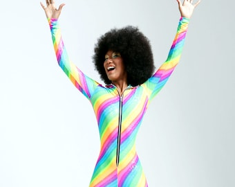 Glitter Rainbow Limited Edition Hooded Catsuit