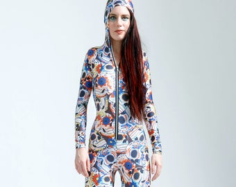SALE: Blue Sugar Skull Catsuit