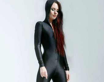 Semi Matte Hooded Compression Knit Black Bodysuit Great For Cold Weather