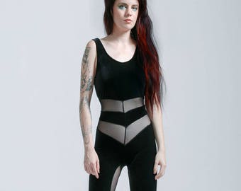Black Or Red Velvet and Mesh Portal Suit for the Modern Superhero