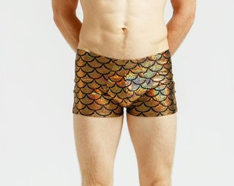 Merman Mankinis in Metallic Mediterranean Gold For Poolside Lounging or General Hotness