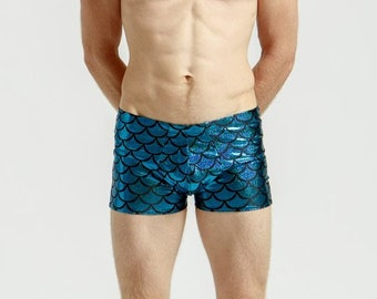 Merman Mankinis in Metallic Caribbean Turquoise For Poolside Lounging or General Hotness
