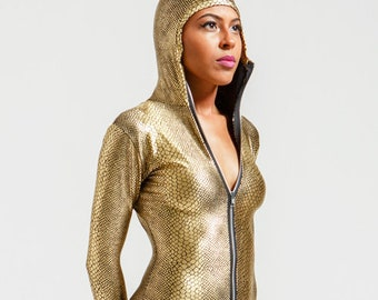 Egyptian Gold Metallic Snake Anaconda Catsuit with Hood