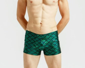 Merman Mankini in Kelp Green For Poolside Lounging or General Hotness