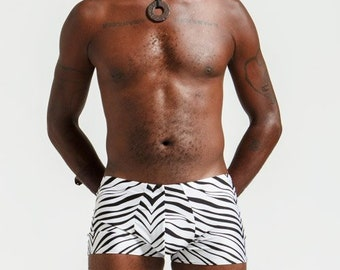 Mankinis in Zebra Print For Poolside Lounging or General Hotness