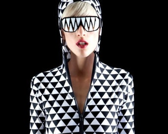 Tribal Triangles Black And White Bodysuit Surfing on a Rocket into Outer Space Faster Than the Speed of Speed Itself