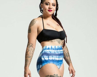 Extended Sizing Blue Porcelain Tie Dye High Waist Bikini Bottom Pinup Style