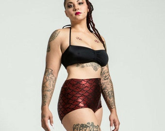 Extended Sizing Volcanic Red High Waist Mermaid Bikini Bottom Pinup Style