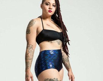 Extended Sizing Atlantic Blue High Waist Mermaid Bikini Bottom Pinup Style