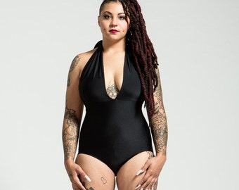 Extended Sizing Classic Black Marilyn One Piece Halter Bathing Suit