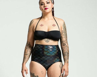 Extended Sizing Baltic Black High Waist Mermaid Bikini Bottom Pinup Style
