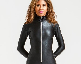Black Leatherette Snake Perfect Black Catsuit