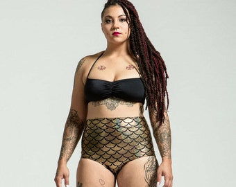 Extended Sizing Mediterranean Gold High Waist Mermaid Bikini Bottom Pinup Style