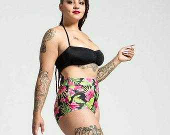 Extended Sizing Tahitian Princess High Waist Bikini Bottom Pinup Style