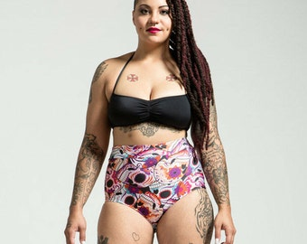 SALE Extended Sizing Pink Sugar Skull High Waist Bikini Bottom Pinup Style
