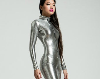Silver Snakeskin High Collared Catsuit