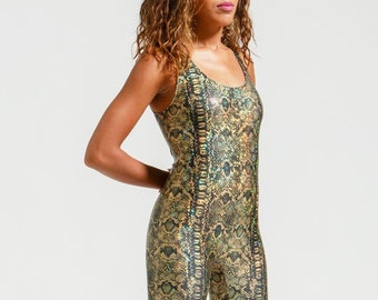 Metallic Gold HoloGraphich Snake Print Sleeveless Portal Suit for the Modern Superhero